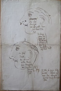 "A drawing made by King Christian after the deaths of Brandt and Struensee, on which he writes ""Ich hätte beide gern gerettet"" (""I would have liked to have saved them both"")"