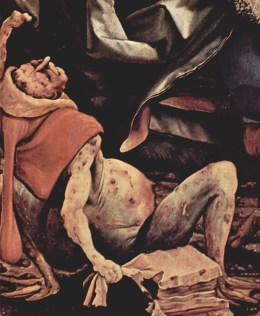 Mathis Grünewald's grisly depiction of a man suffering from St Anthony's Fire (1512-16)