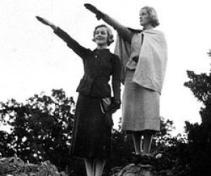 Unity and Diana performing a Hitler salute