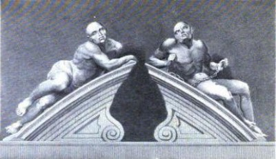 Figures representing Melancholia and Mania, at the entrance to Bedlam