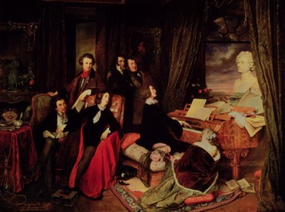 Franz Liszt Fantasising at the Piano (1840). The imagined gathering shows his aristocratic, literary and artistic connections; seated are Alexander Dumas, George Sand and Marie d'Agoult, and standing are Hector Berlioz (or Victor Hugo), Paganini and Rossini. There is a bust of Beethoven on the piano, a portrait of Lord Bryon on the wall, and a statue of Joan of Arc on the far left.