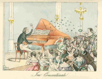 Caricature of women at a Liszt concert, 1842