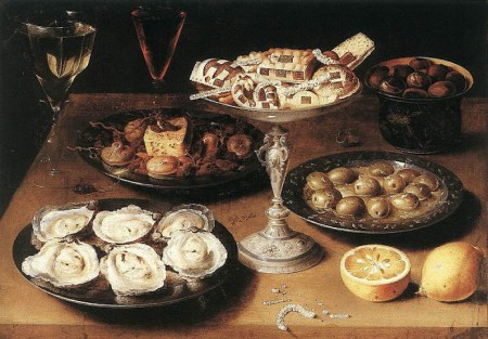 Still life with oysters ~ Osias Beert (1610). Oysters and olives were commonly believed to be aphrodisiacs in 17th century England