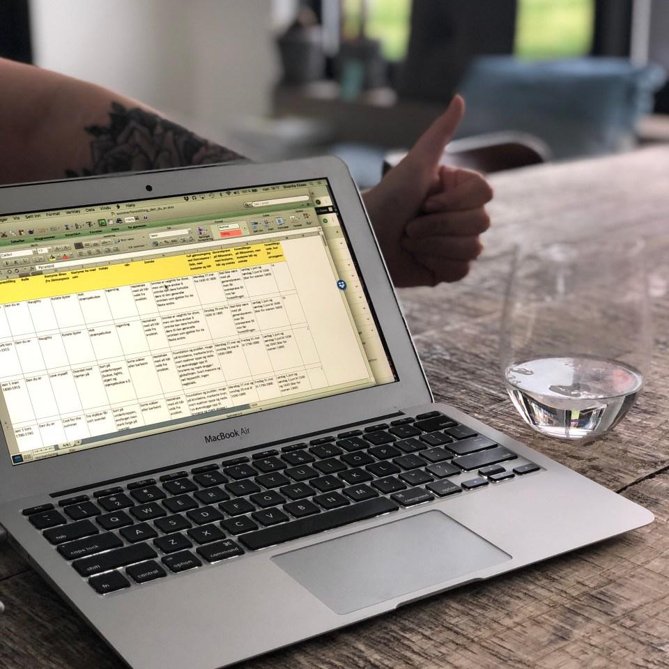 Det berømte Excel arket