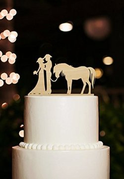 Western Wedding Cake Toppers And Western Wedding Cake Ideas     This wooden silhouette cake topper with a cowboy  cowgirl and horse can  also be ordered in acrylic