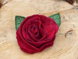 Felt rose brooch