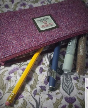 Harris Tweed pencil case: Heather