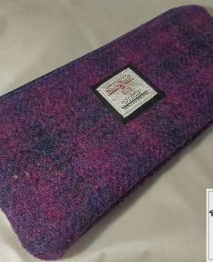 Harris Tweed pencil case: Purple check