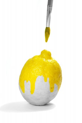 White lemon half painted with yellow paint on http://DancingUpsideDown.com