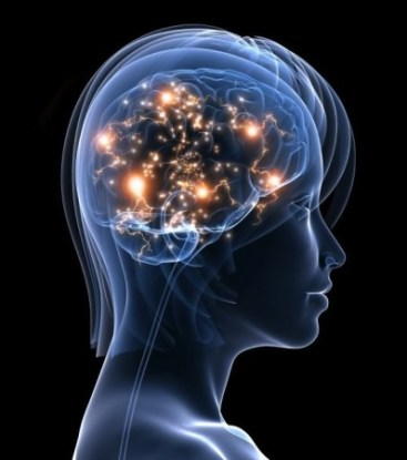 Transparent woman showing the brain with neurons lighting up.