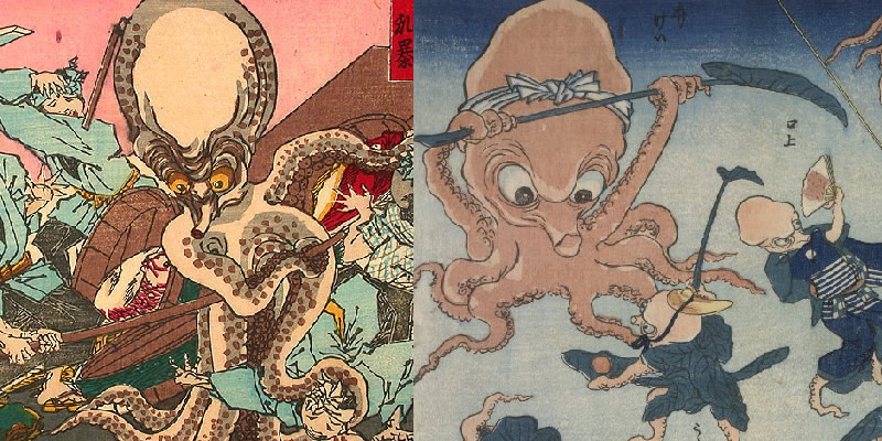 (Left: Yoshitoshi's A giant octopus takes on all comers at the fish market at Nihombashi; Right: Kuniyoshi's Octopus Games)