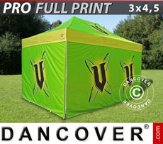 Pop up gazebo FleXtents PRO with full digital print, 3x4.5 m, incl. 4 sidewalls
