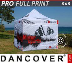 Pop up gazebo FleXtents PRO with full digital print, 3x3 m, incl. 4 sidewalls