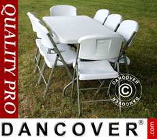 Party package 1 folding table (182 cm) + 8 chairs