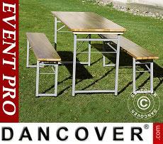 Beer Table Set, 180x60x76cm, Light wood