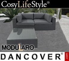 Poly rattan Lounge Set, 3 modules, Modularo, Grey