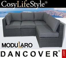 Poly rattan Lounge Sofa, 4 modules, Modularo, Grey
