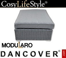 Poly rattan footstool for Modularo, Square, Grey