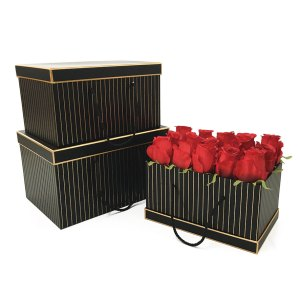 W9451 Black with Golden Grids Rectangular Flower Boxes Set of 3