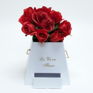 W9472 White Square Pyramid Frustum Flower Box with Drawer