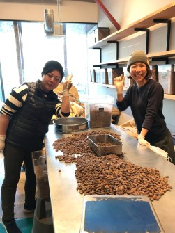 Kaija makes chocolate with her co-workers in Japan.
