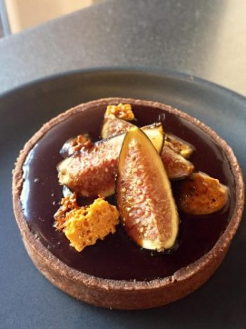 Fig Tart with chocolate and honeycomb
