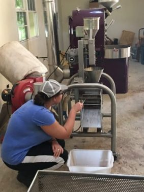 Renee making chocolate in Belize