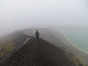 Eric descends from Red Crater to Emerald Lakes