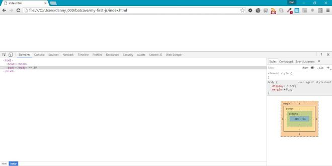 View of the developer tools window