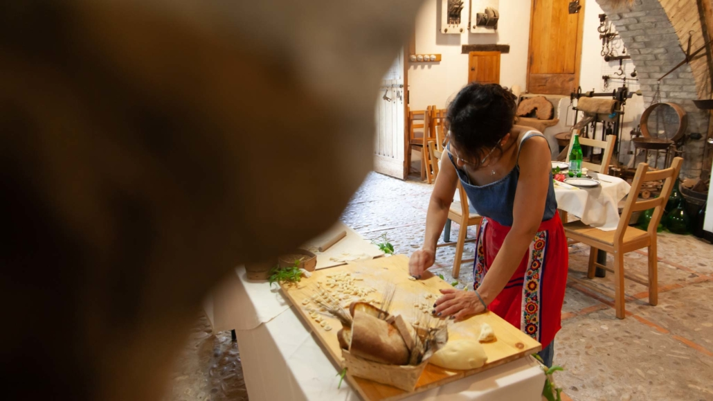 Olga prepares perfect pasta in the old watermill