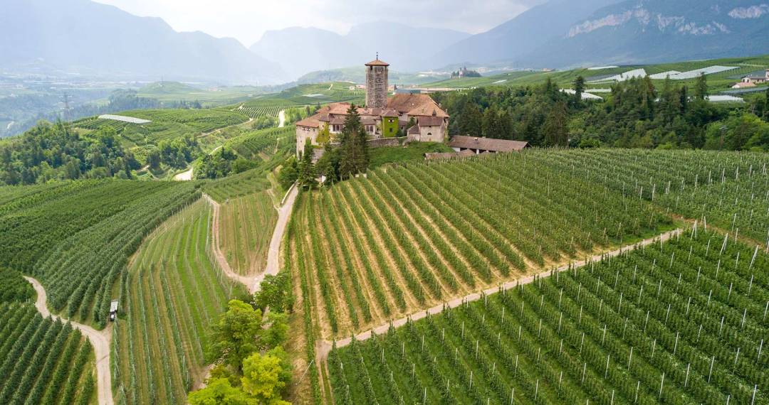 Castel Valer surrounded by apple orchards