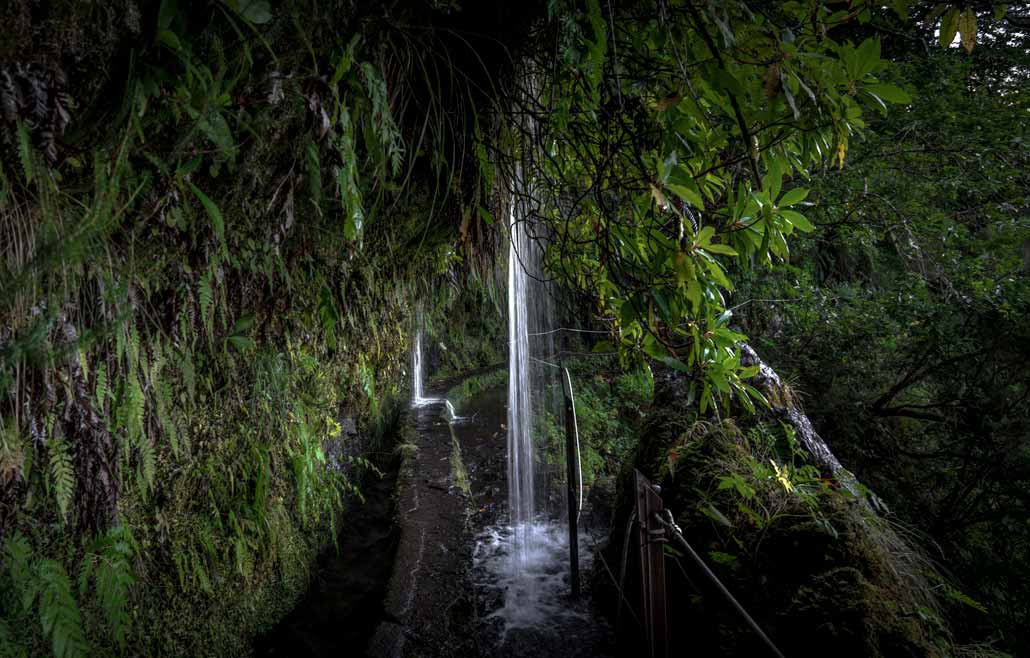 A waterfall you must walk through surrounded by greenery on the Levada do Caldeirão Verde in Madeira