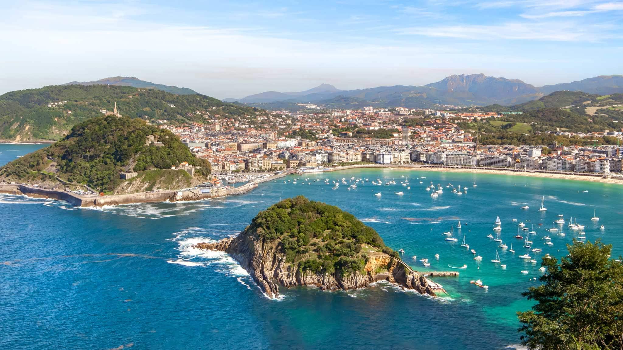 Views over the harbour in San Sebastian