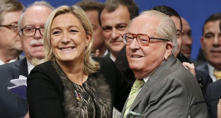 France's far-right National Front party leader Marine Le Pen, Florian Philippot and Jean-Marie Le Pen participate in the 15th congress of the party, in Lyon, France on November 30, 2014. Photo by Patrick Bernard/ABACAPRESS.COM  | 478016_037 Lyon France