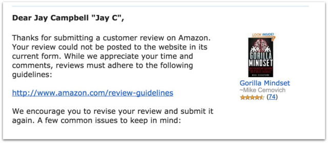 Amazon censorship Gorilla Mindset.57 AM