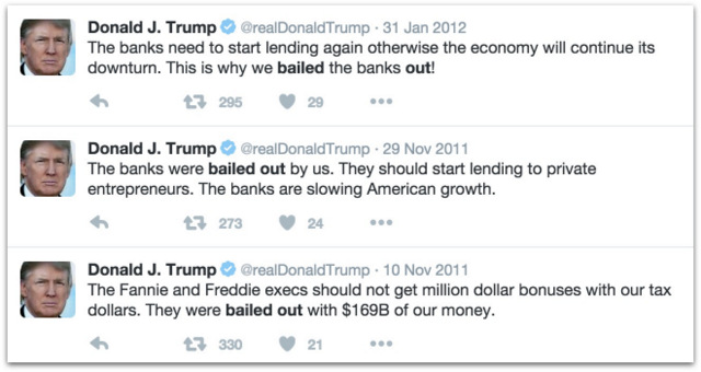 Donald Trump on the bail outs.16 PM