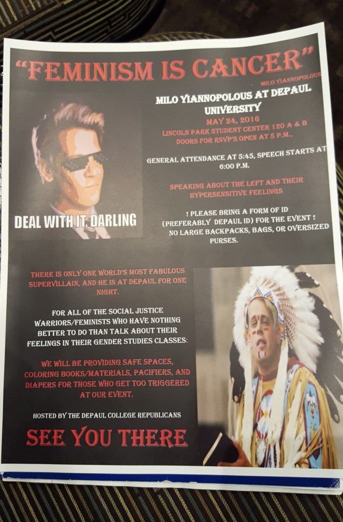 Milo Yiannopoulos at Depaul flier