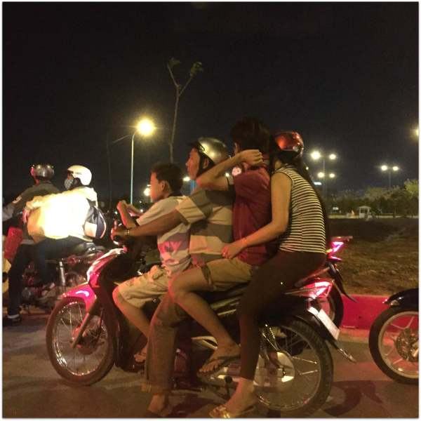 Vietnamese family on a motobike