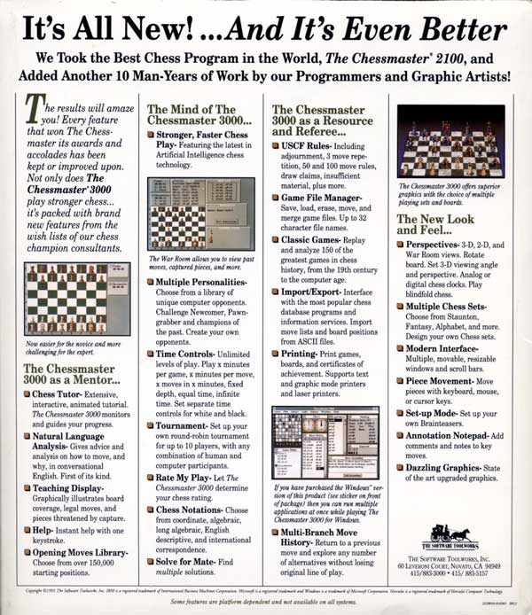 Chessmaster 3000 (Back)