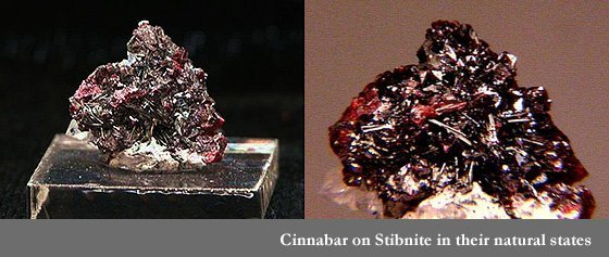 Cinnabar on Stibnite