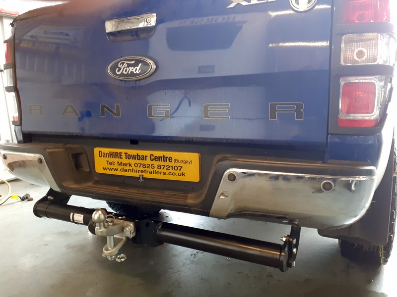 Towbar  complete with Ball and Pin Coupling just been fitted in the Danhire Workshops to a Ford Ranger Truck