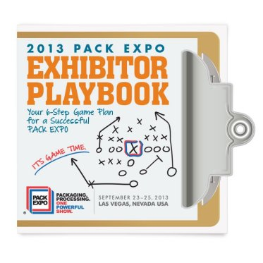 "2013. PMMI asked me to come up with a concept & a design for the exhibitor handbook for their 2013 PACK EXPO show in Las Vegas. The theme was a playbook, so I decided to go with a clipboard that would be full of ""game plans"" for the exhibitors. The clipboard was die-cut and slipped into a slit on the front to keep the booklet closed. PMMI and their exhibitors alike were incredibly pleased with the result."