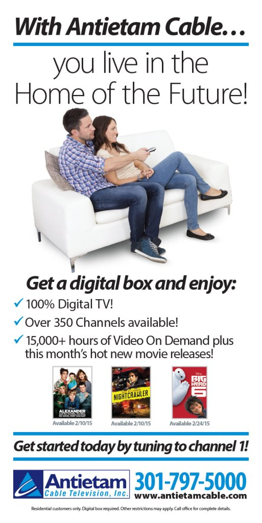 Full-page newspaper ad design for Antietam Cable's TV service as part of their Home of the Future campaign. Design for Icon Graphics.