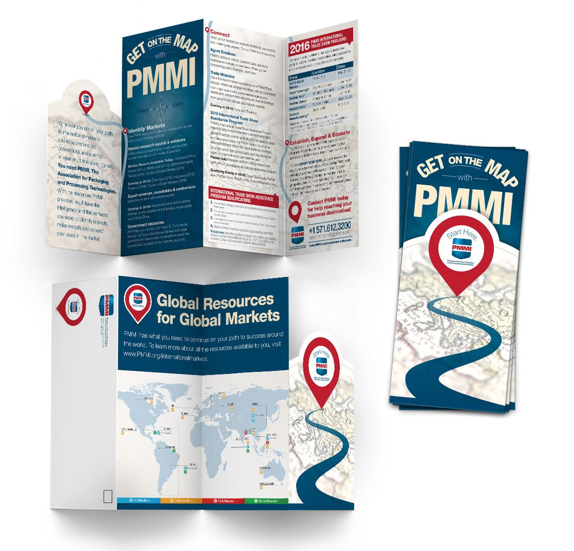 Self-mailing brochure with a die-cut cover, designed for PMMI.