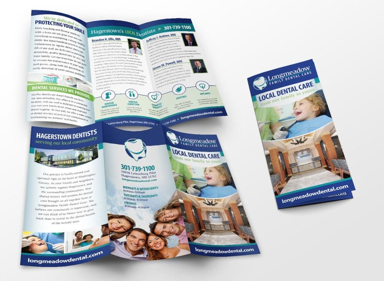 3-panel brochure design for Longmeadow Family Dental Care.
