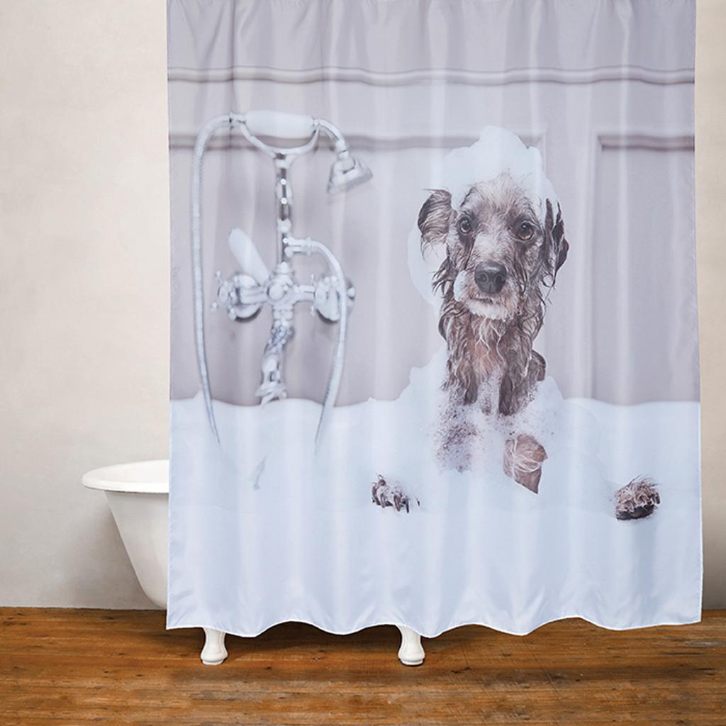 dog bath shower curtain