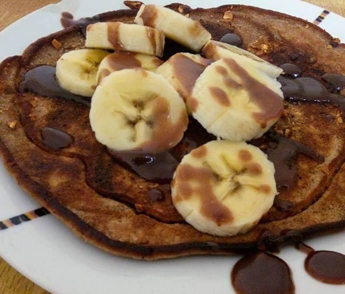 Coffee Pancakes with Chocolate syrup and Banana Recipe