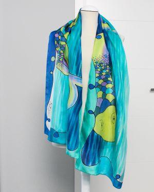 accesorios con motivos narinos. Pañuelo de seda azul