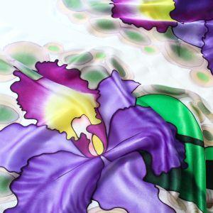 Orquídeas chal de seda pintada.