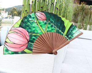 Abanico de seda lotus rosa